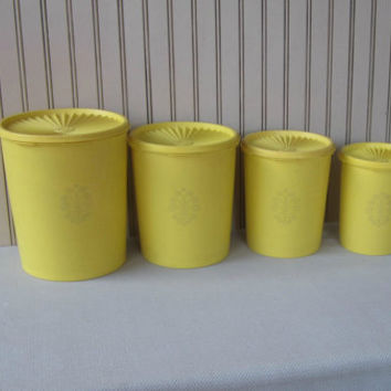 Vintage Tupperware Yellow Canisters Set of 4 Graduated Sizes