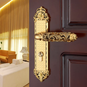 Hardware Indoor Wooden Door Lock Mechanical Double Tongue Lock Split Bedroom Rosewood Handle Locks Exquisite Fashion Carved Lock