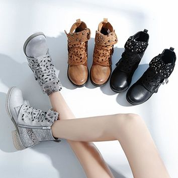 Short Shoes Carved Short Punk Boots Rivets Leather Buckles Martin Boots