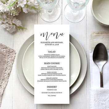 Dinner menu template, Wedding menu printable, Elegant calligraphy menu cards, Long menu 4x9, 5x7, Bridal shower menu template editable PDF