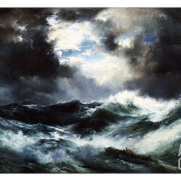 Moonlit Shipwreck at Sea Thomas Moran (1837-1926), 1901 Art Print by Thomas Moran at Art.com