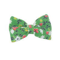Mini Bow | Vintage Green Floral | Brooch