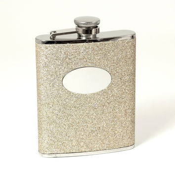 6 oz. Stainless Steel Flask in Gold Glitter.