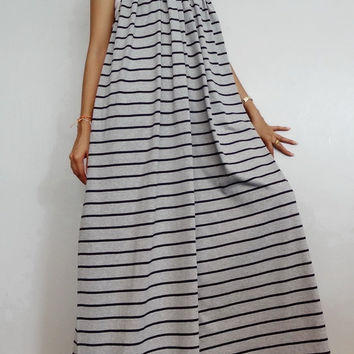 Women Maxi Spaghetti Long Dress ,Casual Gypsy Bohemian Dress ,Gray Striped  In Cotton Blend (Dress*5).