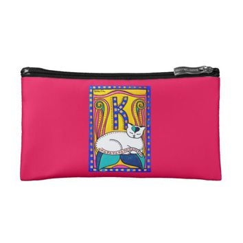 Peace and Love Valentine Cat Art Cosmetic Bag