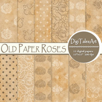 "Floral digital paper ""Old Paper Roses"" flower digital clip art papers, old paper pattern, floral background, craft paper background"