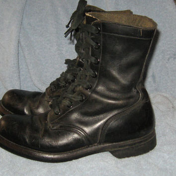 Vintage 1960S Black Leather Lace Up USA Military Combat Jump Boots Biltrite Soles Size US Mens 8