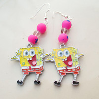 Spongebob Squarepants Sponge Bob Earrings Yellow or Pink