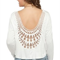 Long Sleeve Flowy Mid Crop Top with Crochet Back