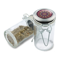 Glass Jar - Love Child Mandala - 75ml Herb and Spice Storage Container