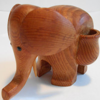 Mid Century Danish Modern Teak Elephant Toothpick Match Holder 1960s
