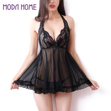 Sexy Japanese Lingerie Lady Temptation Transparent Nightwear Women's Underwear Dress Black Lace Intimate Costumes Woman Nuisette