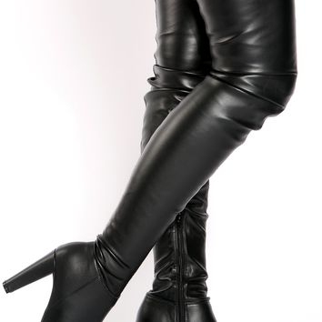 Black Faux Leather Thigh High Boots @ Cicihot Boots Catalog:women's winter boots,leather thigh high boots,black platform knee high boots,over the knee boots,Go Go boots,cowgirl boots,gladiator boots,womens dress boots,skirt boots.