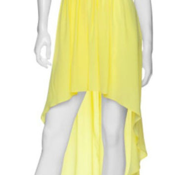Mason By Michelle Mason Yellow One Shoulder Dress