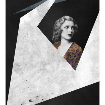 Voyage - Sci fi Art, Geometric Print, Mixed Media Art, Vintage Photo, Portrait Art, Minimalist Poster, Space Art, Wall Decor
