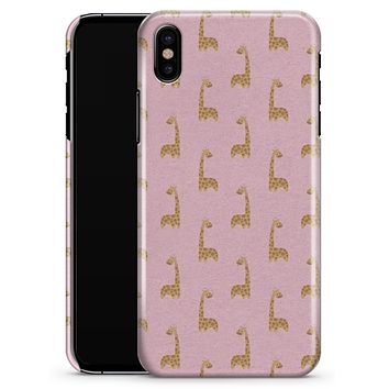 Micro Cartoon Giraffes Over Pink - iPhone X Clipit Case