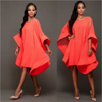 Red Trumpet Sleeve Oversized Dress