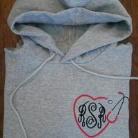 Monogrammed Nurse Hoodie / Hooded Sweatshirt