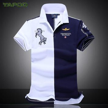 NEW Summer new men's boutique embroidery breathable 100% cotton polo shirt lapel Men's Air Force One polo shirt size M-XXL