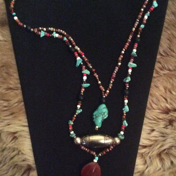 "Exotic Two Tiered Beaded Necklace - ""Riva Palace Necklace"""