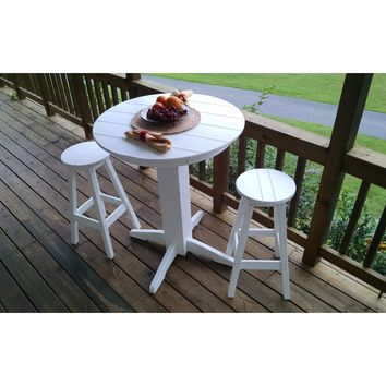 "A & L Furniture Recycled Plastic 3 Piece Bar Set with 33"" Round Table  - Ships FREE in 5-7 Business days"