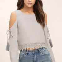 Trip to the Vineyard Light Grey Long Sleeve Lace Crop Top