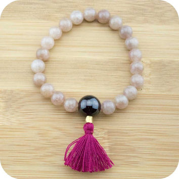Strawberry Quartz Mala Beads Bracelet with Garnet