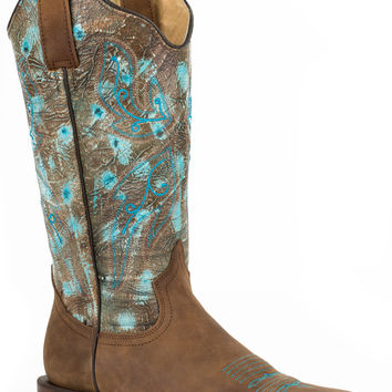 Roper Ladies Classic Leather Sole Boot Boots Rustic Brown Vamp Turquoise Shaft