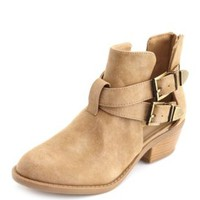 Cutout Double Buckle Ankle Bootie by Charlotte Russe - Natural