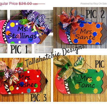 20% OFF TODAY Teacher's Appreciation Pencil Door Hanger  Back to School Door Hanger Classroom Door Hanger. Wood Pencil Sign Teacher's Gift