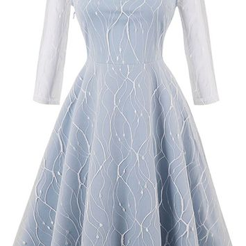 Atomic Light Blue Cracked Mesh Swing Dress