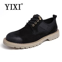 YIXI Brand Men's Boots Mens Doc Martens Shoes Men Casual Leather Dr Martins Boots Winter Retro Black male Work Safety Tool Shoe