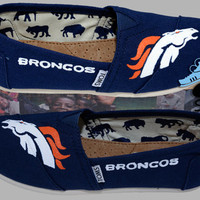 Hand painted Toms. Denver Broncos. Football. Colorado. Superbowl. Handpainted shoes.