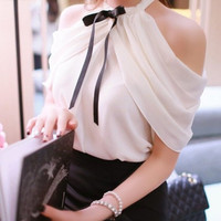White Women Shirt Tops Sexy Off Shoulder Slash Neck Slim Wrap See Through Chiffon Blouse Chemise Femme