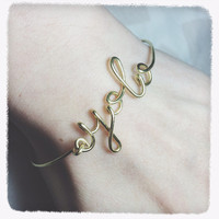 Christmas Sale!Coupon Code 20OFF! personalized word initial letter gold bracelet yolo XO love HOPE note bangle initial brass wire jewelry
