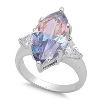 Marquise Multicolor Cubic Zirconia Ring Sterling Silver 925