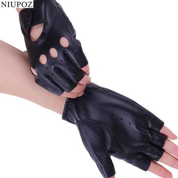 Fashion Trendy Charming Hollow Half Finger Driving Women Gloves PU Leather Fingerless Black Gloves G116