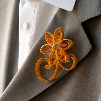 Sunflower Yellow Boutonniere, Yellow Buttonhole, Sunflower Wedding Boutonniere, Boutonniere for Wedding