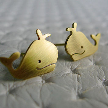 Moby Dick the Whale Stud Earrings - Handmade Brass Jewelry