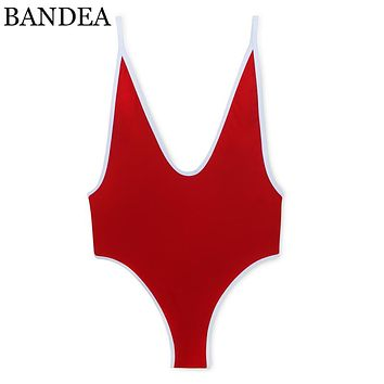 BANDEA sexy deep v swimwear women high cut one pieces swimsuit backless monokini patchwork padded bathing suit beachwear