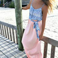 Off The Coast Blue Printed Coral Skirt Maxi Dress