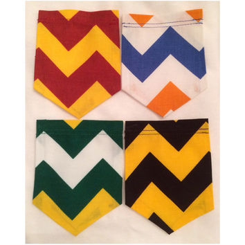 Youth Size College Colored Chevron Pocket T-Shirt