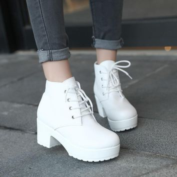 SHOES BOOTS Women Boots British Style Classic Women Motorcycle Dr.Martins style Boots Women Punk Waterproof Shoes Black Shoes