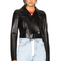 OFF-WHITE Woman Cropped Biker Jacket in Black & White | FWRD