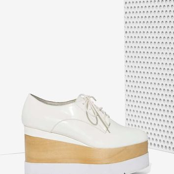 Jeffrey Campbell Berliner Leather Platform - White