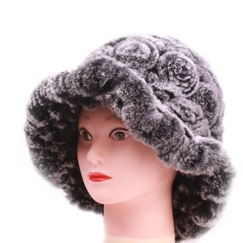 Topper Women's Hats Real Fur Leather Top New For women Rabbit Circled Strip Solid Russian Winter Caps Warm Collar hat female