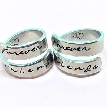 Forever Friends - Best Friend Gift, Hand Stamped Aluminum wrap Ring Set
