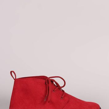 Suede Lace Up Desert Booties