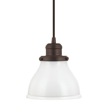 Capital Lighting Fixture Company 4551BB-128 Baxter Burnished Bronze One-Light Mini-Pendant with Milk Glass