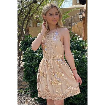 Feelin' So Good Gold Sequin Lace Halter Skater Dress